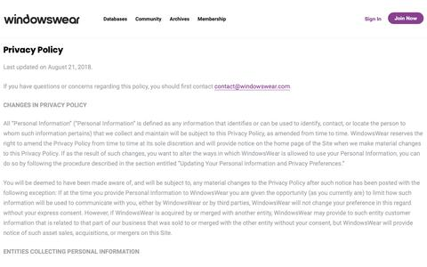 Screenshot of Privacy Page windowswear.com - Privacy Policy – WindowsWear - captured Nov. 3, 2018