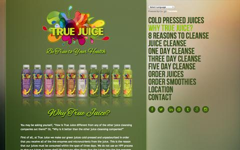 Screenshot of About Page truejuice.com - True Juice I Scottsdale, Arizona l Raw Cold Pressed Juices l Juice Fasting l Juice Cleanses l Protein Smoothies - captured Oct. 3, 2014