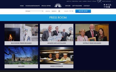Screenshot of Press Page irelands-blue-book.ie - Manor House Hotels Ireland, Irish Manor Houses - Irelands Blue Book - captured Sept. 30, 2014