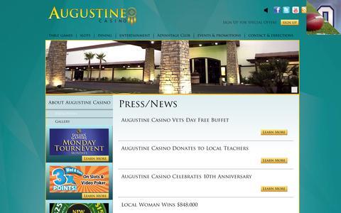 Screenshot of Press Page augustinecasino.com - Press/News   Augustine Casino (760) 391-9500 - captured Sept. 30, 2014