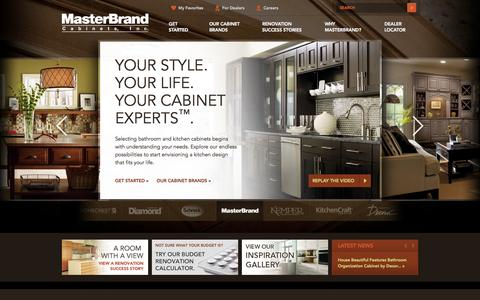 Screenshot of Home Page masterbrand.com - Kitchen Cabinets & Bathroom Cabinetry – MasterBrand - captured Sept. 19, 2014