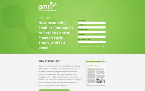 Screenshot of Landing Page amriglobal.com - White Paper: How Insourcing Enables Companies to Retake Control, Shorten Cycle Times, and Cut Costs | AMRI Global - captured April 27, 2018