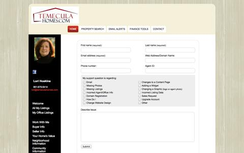 Screenshot of Support Page temeculahomes.com - Support Form | TemeculaHomes.com - captured Nov. 3, 2014