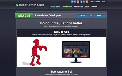 Screenshot of Developers Page indiegamestand.com - Developer Portal - IndieGameStand - captured Sept. 25, 2014