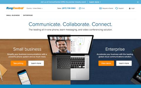 Screenshot of ringcentral.com - All-in-One Phone, Team Messaging, Video Conferencing | RingCentral - captured Aug. 14, 2018