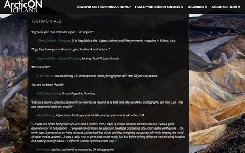 Screenshot of Testimonials Page arcticon.is - Testimonials | ArcticON Productions - captured Oct. 4, 2014