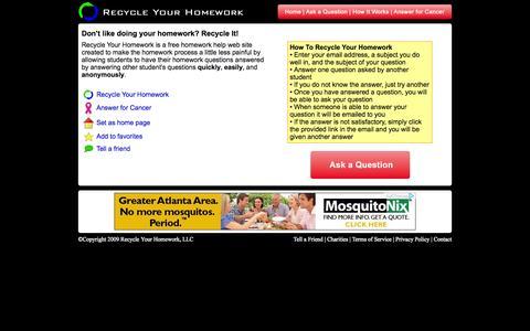 Screenshot of Home Page recycleyourhomework.com - Recycle Your Homework - Free Homework Help for High School and College Students - captured Oct. 6, 2014