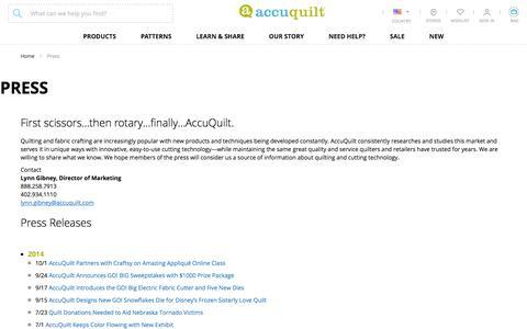 Screenshot of Press Page accuquilt.com - Press - captured July 29, 2018