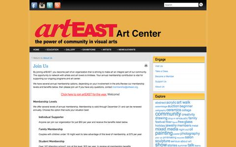 Screenshot of Signup Page arteast.org - artEAST Membership: Join Us! - captured Oct. 9, 2017
