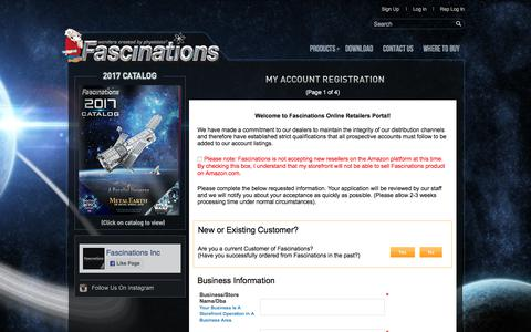 Screenshot of Signup Page fascinations.com - Fascinations - Metal Earth 3D Metal Model DIY Kits - Unique Gifts for Birthday, Holidays and Special Occasions:: Register - captured June 23, 2017