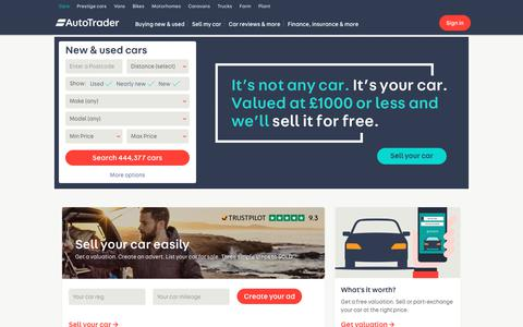 Screenshot of Home Page autotrader.co.uk - Auto Trader UK - Find New & Used Cars for Sale - captured Sept. 17, 2017