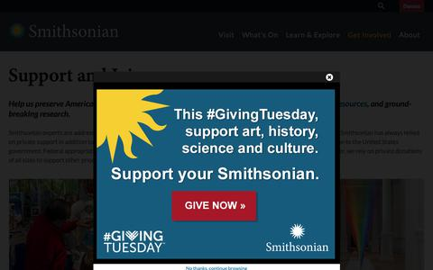 Screenshot of Support Page si.edu - Support and Join| Smithsonian Institution - captured Nov. 27, 2018