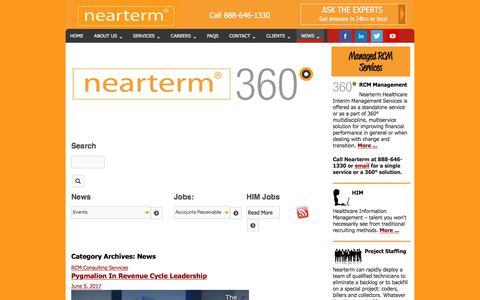 Screenshot of Press Page nearterm.com - RCM Services News - Consulting, Interim Management & More - captured June 18, 2017