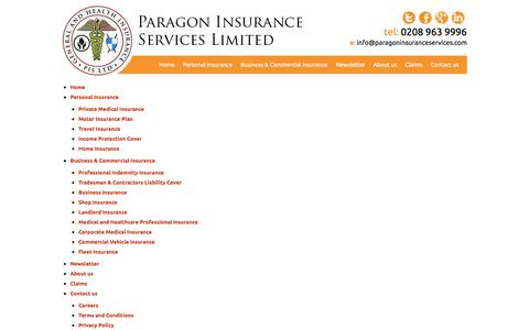 Screenshot of Site Map Page paragoninsuranceservices.com - Sitemap - Business Insurance | Personal Insurance | Paragon Insurance Services - captured Dec. 7, 2015