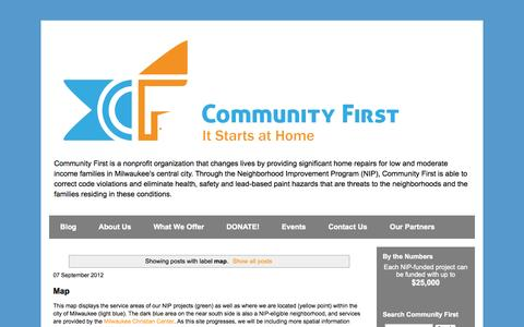 Screenshot of Maps & Directions Page cfmke.org - Community First, Inc.: It Starts at Home: map - captured Oct. 23, 2014