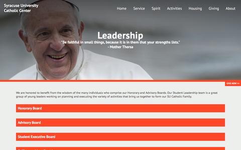 Screenshot of Team Page sucatholic.org - Leadership - Syracuse University Catholic Center - captured Dec. 17, 2016