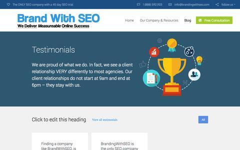 Screenshot of Testimonials Page seofirm.us - Section: Testimonials | BrandingWithSEO - captured Nov. 4, 2014
