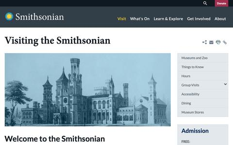 Screenshot of Maps & Directions Page si.edu - Visiting the Smithsonian| Smithsonian Institution - captured Oct. 25, 2018