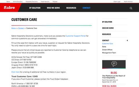 Screenshot of Support Page sabrehospitality.com - Digital Marketing Programs | Sabre Hospitality - Customer Care | Travel Digital Marketing - captured Sept. 28, 2016
