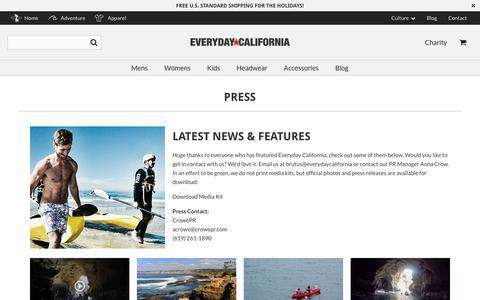 Screenshot of Press Page everydaycalifornia.com - Press - Everyday California - captured Dec. 8, 2018