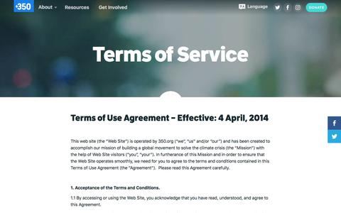 Screenshot of Terms Page 350.org - 350  – Terms of Service - captured June 22, 2017
