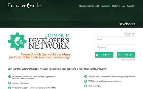 Screenshot of Developers Page manateeworks.com - Manatee Works•Developers - captured Oct. 4, 2014