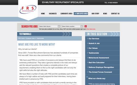 Screenshot of Testimonials Page forcesrecruitment.co.uk - FRS - Testimonials - captured Oct. 10, 2018