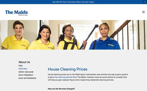 Screenshot of Pricing Page themaidsofdc.com - The Maids of Alexandria, Arlington, DC, and Prince William — Pricing - captured Sept. 21, 2018