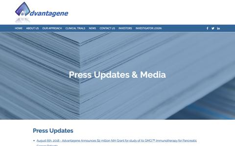 Screenshot of Press Page advantagene.com - NEWS | Advantagene, Inc. - captured Oct. 19, 2018