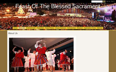 Screenshot of About Page ning.com - About Us - Feast Of The Blessed Sacrament - captured Oct. 27, 2018