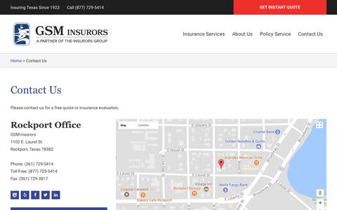Screenshot of Contact Page Locations Page gsminsurors.com - Rockport Contact Us | Insuring Texas - captured July 15, 2018