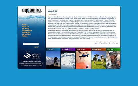 Screenshot of About Page aquamira.com - About Us         —         Aquamira Water Treatment Products - captured Sept. 19, 2014