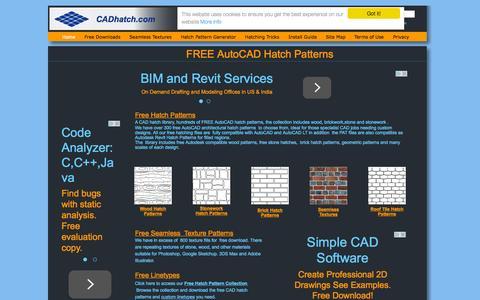 Screenshot of Home Page cadhatch.com - Free AutoCAD Hatch Patterns | CADHatch - captured Sept. 28, 2015