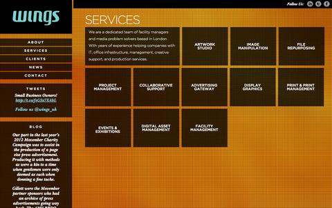 Screenshot of Services Page wings-uk.com - Wings - captured Oct. 1, 2014