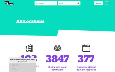 Screenshot of Locations Page bizspace.co.uk - Workspace To Rent in the UK | Our Locations | BizSpace - captured Sept. 22, 2018