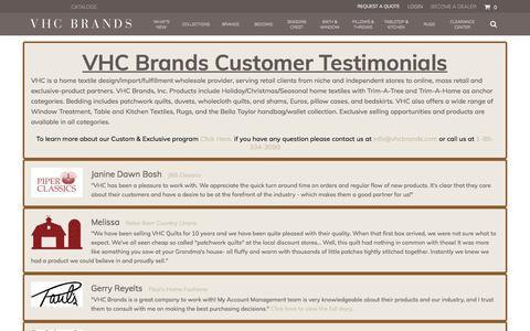 Screenshot of Testimonials Page vhcbrands.com - Testimonial - captured Sept. 20, 2018