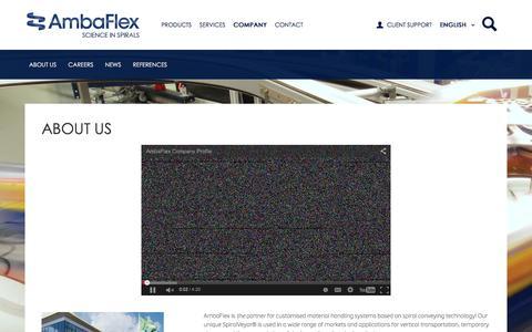 Screenshot of About Page Press Page Jobs Page ambaflex.com - Company | AmbaFlex - captured Feb. 6, 2016