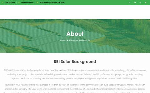 Screenshot of About Page rbisolar.com - About RBI Solar – RBI Solar Inc - captured June 11, 2019