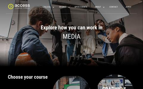 Screenshot of Press Page accesscreative.ac.uk - Media Courses | Access Creative College | Creative Courses : Access Creative College – Games, Music, Media and Events Courses - captured Dec. 6, 2018