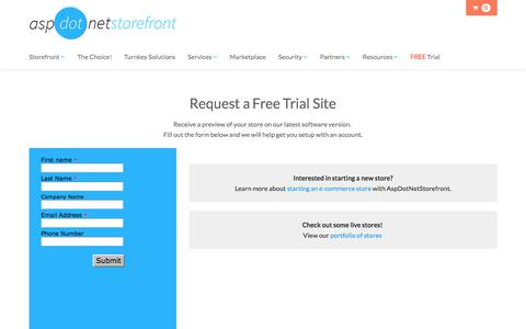 Screenshot of Trial Page aspdotnetstorefront.com - free-demo-request - captured July 30, 2018