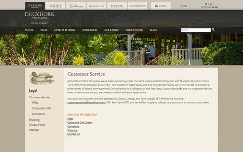 Screenshot of Support Page duckhorn.com - Duckhorn Vineyards - Customer Service - captured July 19, 2016