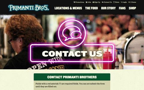 Screenshot of Contact Page primantibros.com - Contact Us - Primanti Bros. Restaurants - captured Sept. 19, 2014