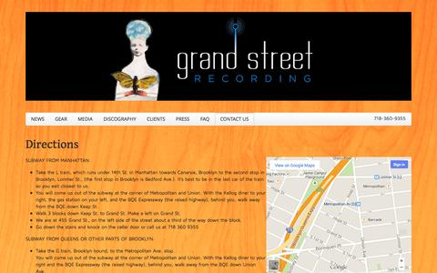 Screenshot of Maps & Directions Page grandstreetrecording.com - Grand Street Recording | Brooklyn, New York  » Directions - captured Sept. 30, 2014