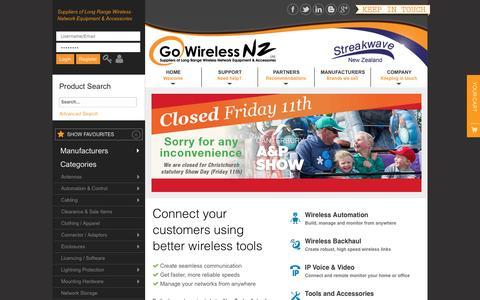 Screenshot of Home Page gowifi.co.nz - Go Wireless NZ - Suppliers of Long Range Wireless Equipment - captured Nov. 10, 2016