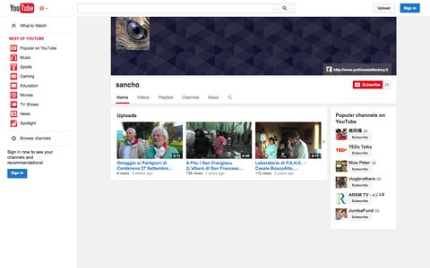 Screenshot of YouTube Page youtube.com - sancho  - YouTube - captured Oct. 22, 2014