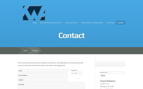 Screenshot of Contact Page kwaplanning.com - Contact | Ken Weeden & Associates Inc. - captured Feb. 12, 2016