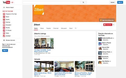 Screenshot of YouTube Page youtube.com - Zilbert  - YouTube - captured Nov. 3, 2014