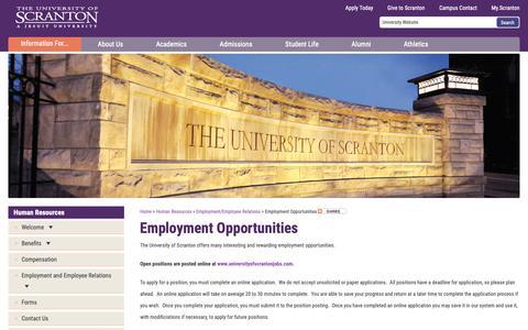 Screenshot of Jobs Page scranton.edu - Employment Opportunities | Employment/Employee Relations | Human Resources - captured Feb. 1, 2019