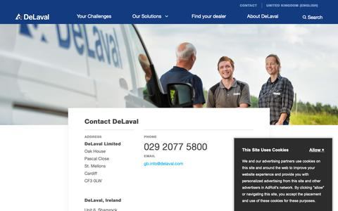 Screenshot of Contact Page delaval.com - Contact DeLaval - DeLaval - captured Oct. 22, 2018