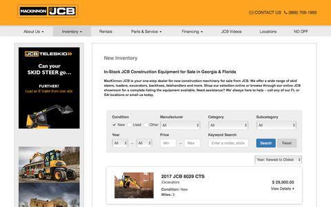 Screenshot of Products Page mackinnonjcb.com - New Construction Equipment Sales FL & GA | JCB Skidsteers, Loaders, Excavators, Telehandlers For Sale - captured Sept. 30, 2017
